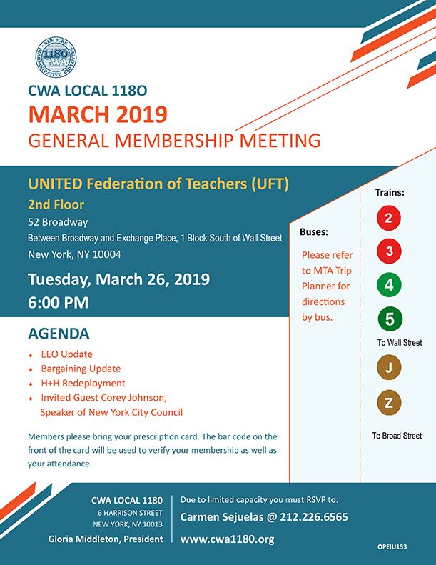General Membership Meeting March 2019 UFT